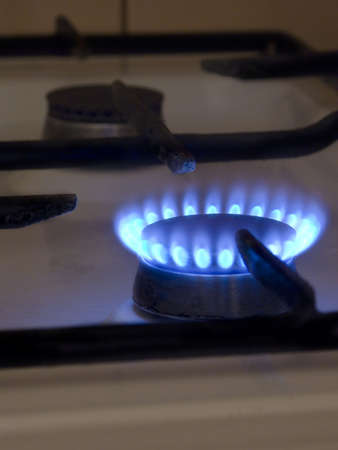one blue flame on gas stove Stock Photo - 3874111