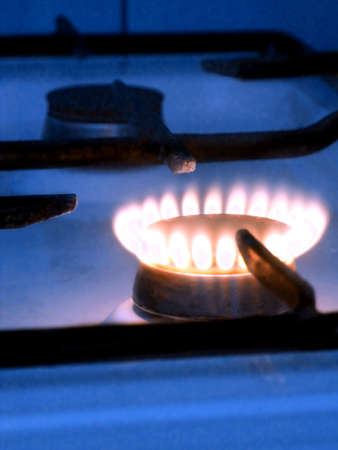 one blue flame on gas stove Stock Photo - 3874114