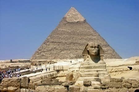 Egypt - Khafras Pyramid and Sphinx of Giza; Cairo