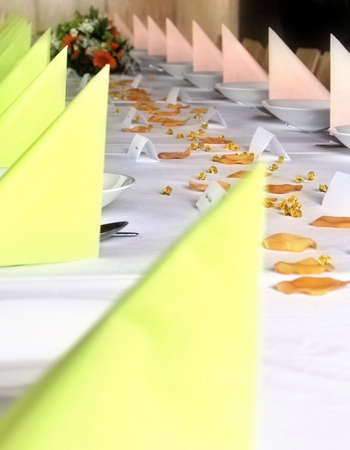 wedding dodgy table with coloured napkin