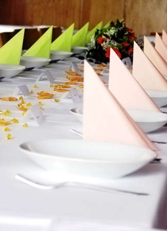 wedding dodgy table with coloured napkin Stock Photo - 4842576