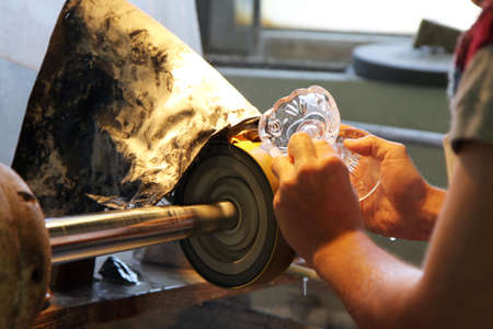 grinding: hand work - glass-cutting in factory