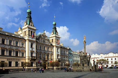 guildhall: Czech Republic - town Pardubice - Renaissance guild-hall on Perstynske square Stock Photo