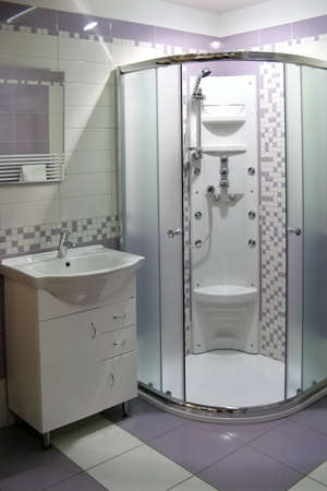 sanitary: modern bathroom with shower bath Stock Photo