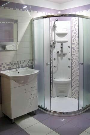 modern bathroom with shower bath Stock Photo