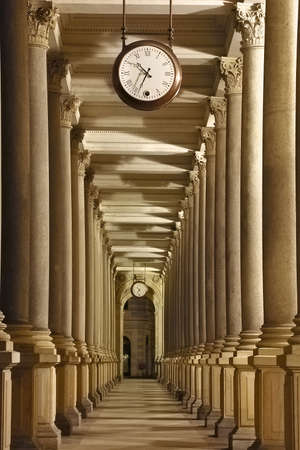 karlovy: Czech republic - Carlsbad (Karlovy Vary) - colonnade with oclock Stock Photo