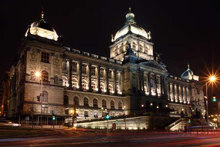 Czech republic - metropolises Prague - Vaclavske square with National Museum in night photo