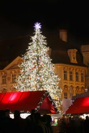 Czech republic - metropolises Prague . Staromestske square with christmas tree