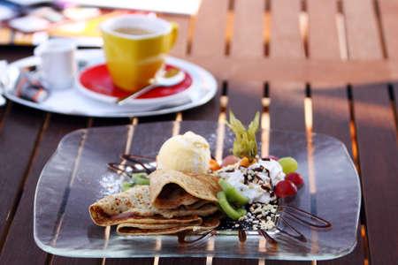 pancake with chocolate, vanilla ice-creme and fruit Stock Photo - 7736057