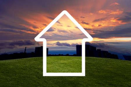 hoopt: huis van dromen met zons ondergang