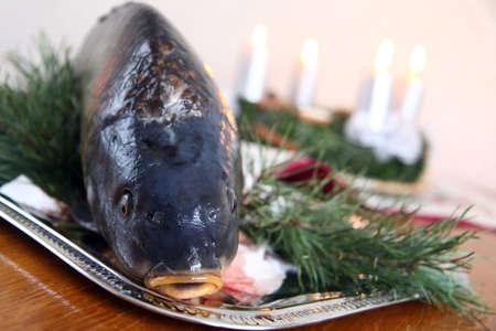 Czech tradition - carp on Christmas table Stock Photo
