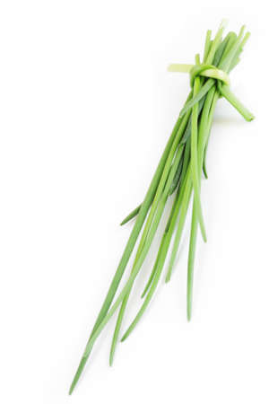 chive on white background photo