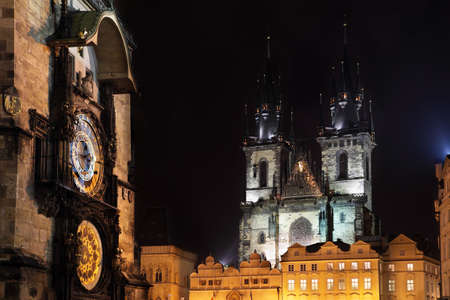 Czech republic - metropolises Prague . Staromestske square - astronomical clock and Tynsky palace photo