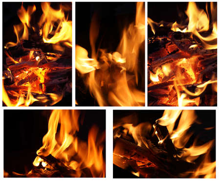 composite image - close-up of fire and flames on a black background Stock Photo