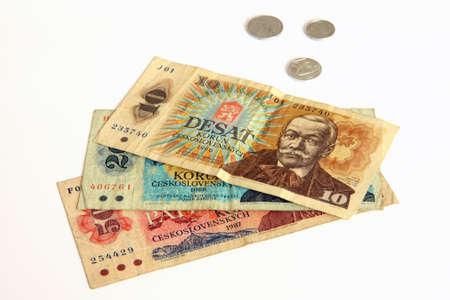 Czech old money on white background Stock Photo - 9146541