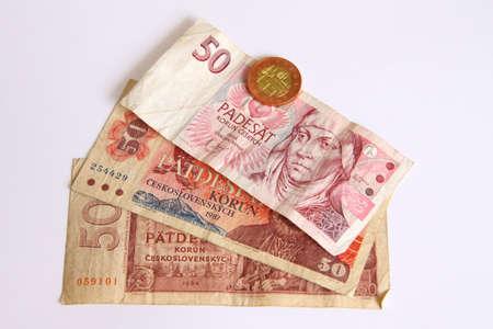 Czech old money on white background Stock Photo - 9146574