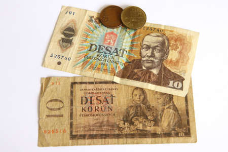 Czech old money on white background Stock Photo - 9212685