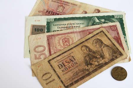 Czech old money on white background Stock Photo - 9297441