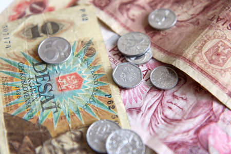 Czech old money on white background Stock Photo - 9297451