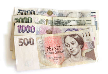 Czech paper money on white backgroun Stock Photo - 9354564