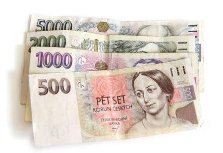 Czech paper money on white backgroun photo