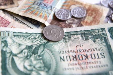 korun: Czech old money on white background