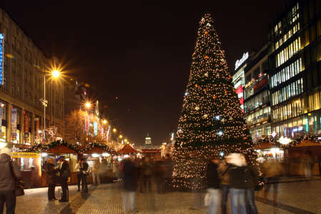 Czech republic - metropolises Prague - Vaclavske square with people and christmas trade Stock Photo