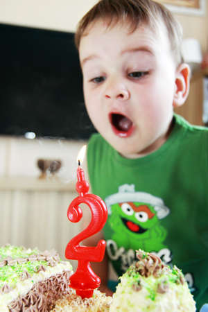child and birthday two year - blowing candle Stock Photo - 9892938