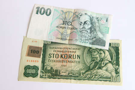 Czech old money on white background photo