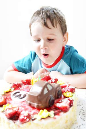 Birthday party celebration sweet cake food three candles photo