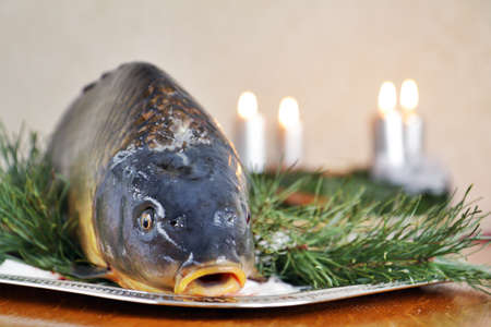 Czech tradition - carp on Christmas table Stock Photo