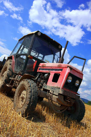 red old tractor in summer on field photo