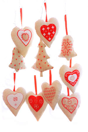 home decorated: Domestic handmade - fabric ornaments on a Christmas tree