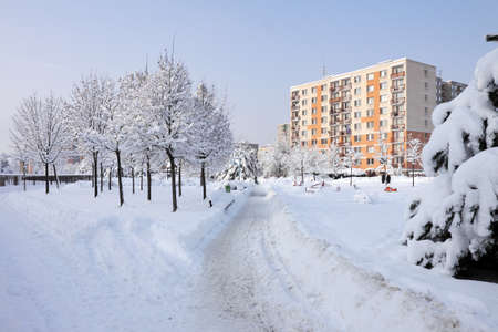 Czech Republic, Pardubice city in winter, panel buildings Stock Photo