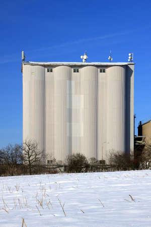 winter wheat: Czech Republic - agriculture silo on grain in winter