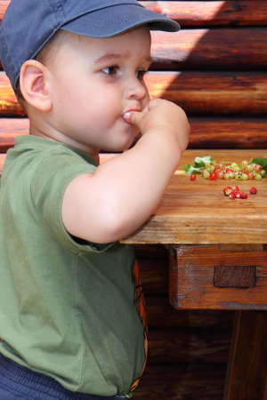 red currants: little boy eat forest strawberries and red currants Stock Photo