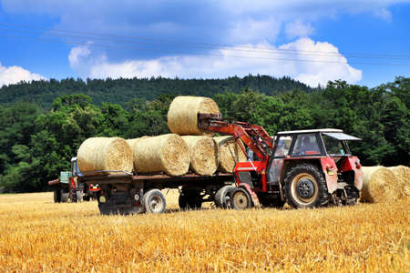 Tractor carrying hay at field in summer day photo