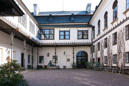 Czech Republic - castle in Slatinany with statue horses and museum