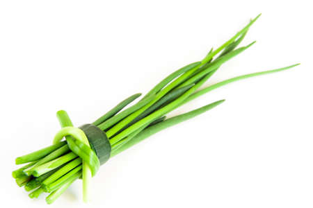chive: green fresh chive on white background Stock Photo