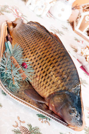 Czech tradition - carp on Christmas table photo