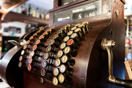 Old-Time Cash Register in a Pub.