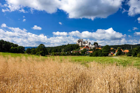 rabi: Czech Republic - Summer Landscape with Medieval Stone Castle Ruins Rabi