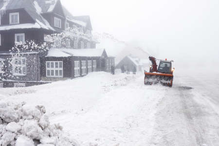 Czech Republic - mountains Krkonose - snowblower on road
