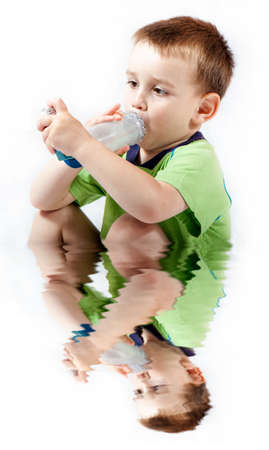 bronchial: Little boy using inhaler for asthma isolated on white with reflection on water Stock Photo
