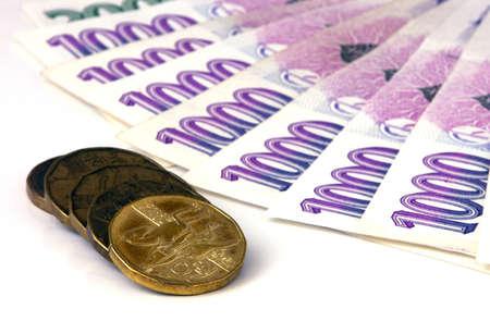 korun: Czech money on white background Stock Photo