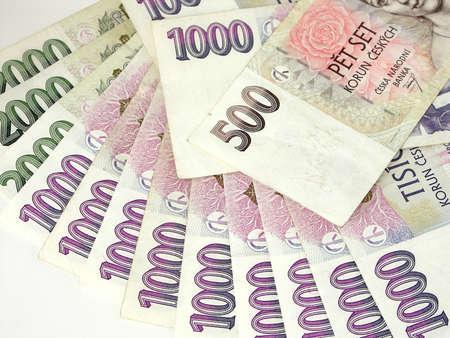 Czech money on white background Foto de archivo