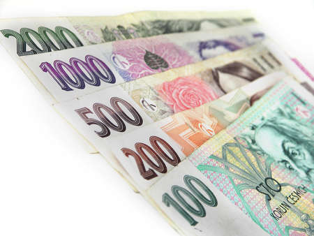 Czech money on white background Stock Photo - 32446932