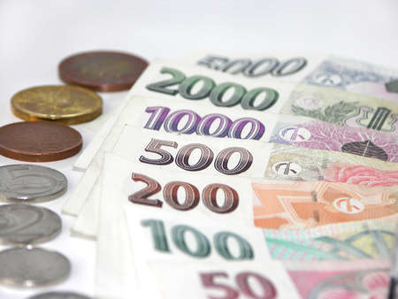 Czech money on white background photo