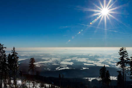 bohemia: Czech mountains in winter - view from the cross-country circuit in the valley Stock Photo