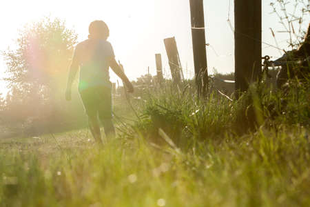 walking: alone a little boy walking down a dirt road at sunset along the wooden fence Stock Photo